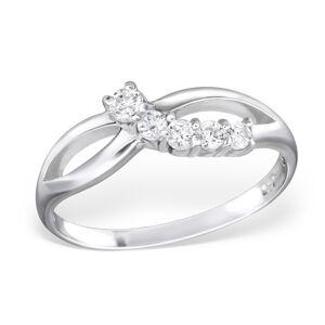 OLIVIE Strieborný prsteň so zirkónmi 0664 Veľkosť prsteňov: 6 (EU: 51 - 53) Ag 925; ≤1,40 g.