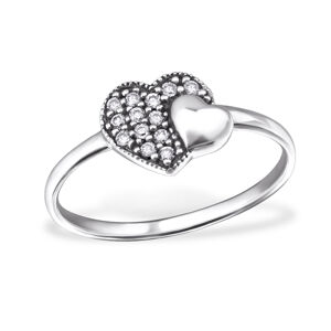 OLIVIE Strieborný prsteň 2 srdiečka 0719 Veľkosť prsteňov: 8 (EU: 57 - 58) Ag 925; ≤1,3 g.