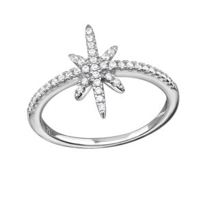 OLIVIE Strieborný prsteň HVIEZDA s kubickými zirkónmi 1027 Veľkosť prsteňov: 8 (EU: 57 - 58) Ag 925; ≤2,10 g.