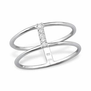 OLIVIE Strieborný dvojitý prsteň so zirkónmi 1198 Veľkosť prsteňov: 5 (EU: 47 - 50) Ag 925; ≤1,6 g.