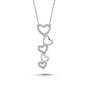 OLIVIE Strieborný srdiečkový náhrdelník 2329 Ag 925; ≤2,71 g.