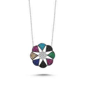 OLIVIE Strieborný náhrdelník s farebnými zirkónmi 2347 Ag 925; ≤4,52 g.