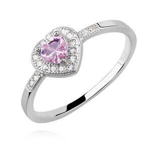 OLIVIE Strieborný prsteň RUŽOVÉ SRDCE 2401 Veľkosť prsteňov: 6 (EU: 51 - 53) Ag 925; ≤1,5 g.