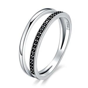 OLIVIE Strieborný prsteň ČIERNA LÍNIA 3392 Veľkosť prsteňov: 7 (EU: 54 - 56) Ag 925; ≤1,7 g.