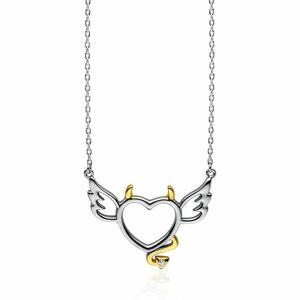OLIVIE Strieborný náhrdelník ANJEL a DIABOL 3400 Ag 925; ≤2,9 g.