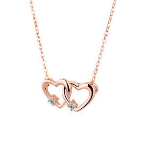 OLIVIE Strieborný náhrdelník SPOJENÁ SRDCE ROSE 4116 Ag 925; ≤3,1 g