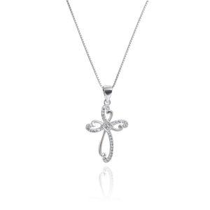 OLIVIE Strieborný náhrdelník ZIRKÓNOVÝ KRÍŽIK 4321 Ag 925; ≤2,5 g.