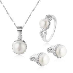 OLIVIE Strieborná sada šperkov PERLY 4869 Veľkosť prsteňov: 10 (EU: 62-64) Ag 925; ≤6,7 g.