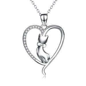 OLIVIE Strieborný náhrdelník MAČKA V SRDCI 5075 Ag 925; ≤3,5 g.