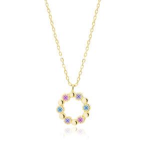 OLIVIE Strieborný náhrdelník KRUH GOLD 5207 Ag 925; ≤2,3 g.