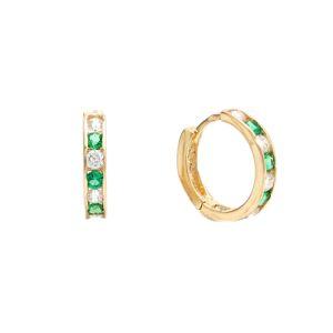 Zlaté detské náušnice LALIMA - kruhy so zelenými kameňmi