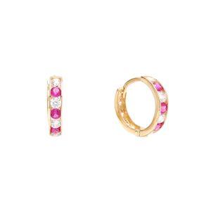 Zlaté detské náušnice LUCILLE - kruhy s tmavo ružovými kameňmi