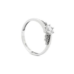 Zlatý prsteň s bielymi kamienkami ADWOA