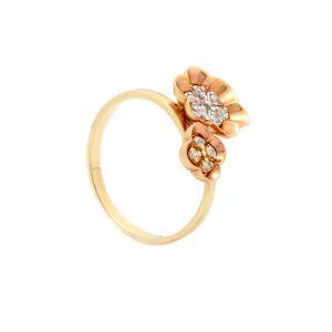 Zlatý prsteň FLEURS so zirkónmi